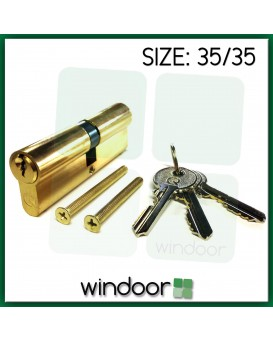 35 / 35 Cylinder Door Lock Brass / Gold - Key / Key