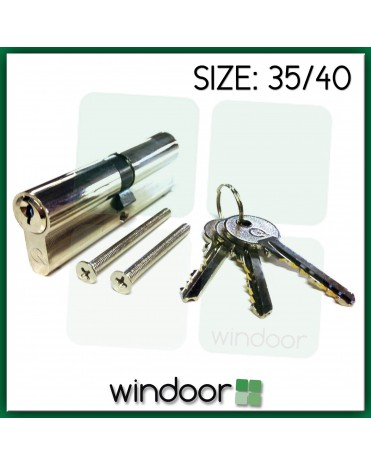 35 / 40 Cylinder Door Lock Nickel / Silver - Key / Key