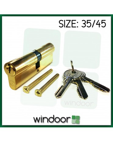 35 / 45 Cylinder Door Lock Brass / Gold - Key / Key