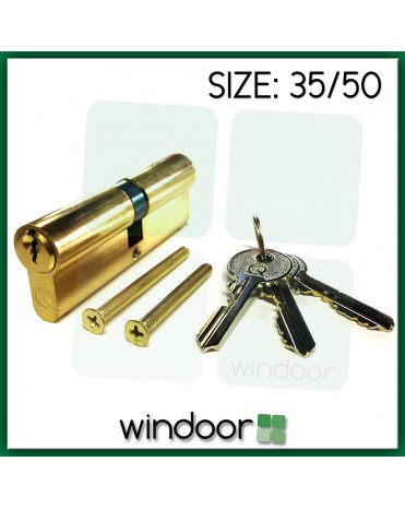 35 / 50 Cylinder Door Lock Brass / Gold - Key / Key