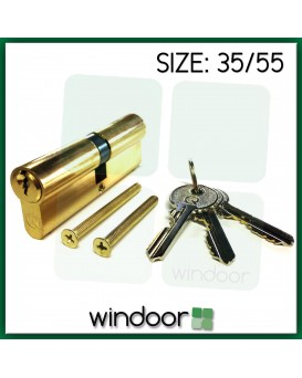 35 / 55 Cylinder Door Lock Brass / Gold - Key / Key