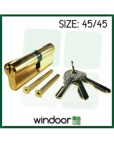 45 / 45 Cylinder Door Lock Brass / Gold - Key / Key