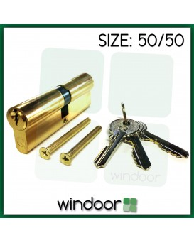 50 / 50 Cylinder Door Lock Brass / Gold - Key / Key