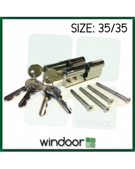 35 / 35 Key Alike Cylinder Door Lock Nickel / Silver - Key / Key