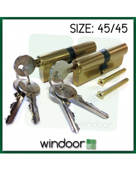 45 / 45 Key Alike Cylinder Door Lock Brass / Gold - Key / Key