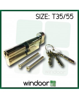 T35 / 55 Cylinder Door Lock Nickel / Silver - Key / Thumb Turn