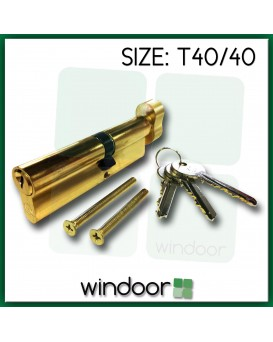 T40 / 40 Cylinder Door Lock Brass / Gold - Key / Thumb Turn