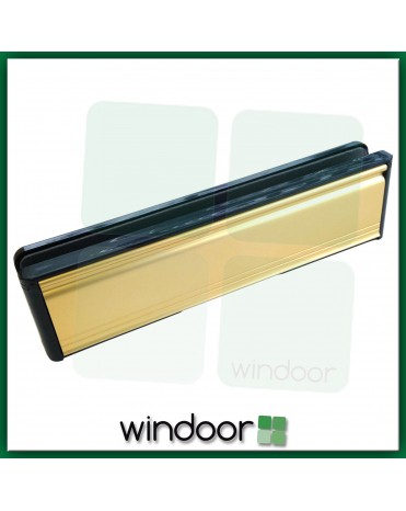 "10"" Paddock Welseal uPVC Panel Type Letterbox / Letterplate - Anodised Gold / Black"