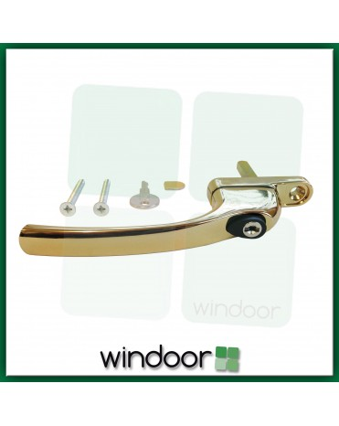 GreenteQ Inline Polished Brass Espag Window Handle