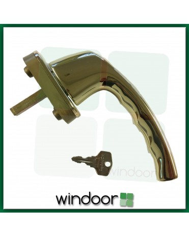 Hoppe Tilt and Turn Key Locking uPVC Window Handle - Polished Brass